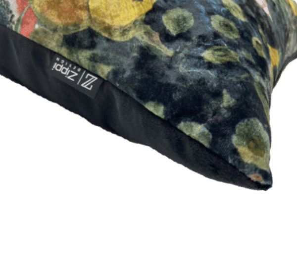 bloemen groot geel zwart zippi design luxe kussen sierkussens